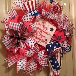 Summer Americana Patriotic Primitive Door Wreath